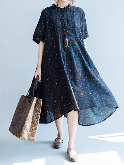 Stand Collar Blue Shift Women Daily Half Sleeve Cotton-blend Printed Gingham Casual Dress