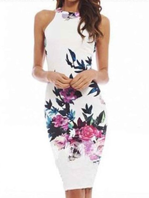 Halter White Sheath Women Daily Sleeveless Printed Floral Prom Dress