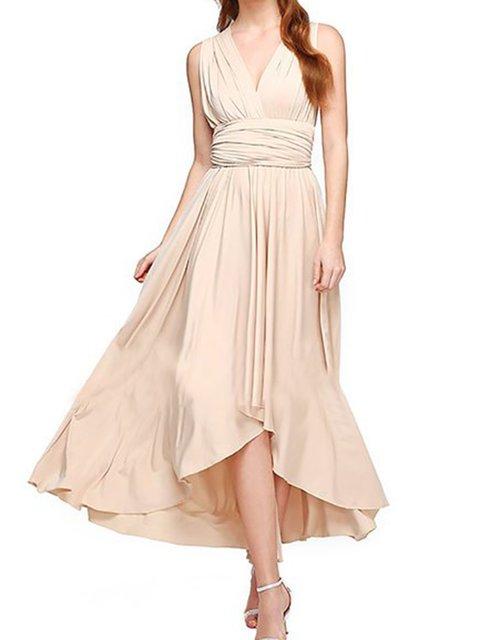 A-line Women Daily Sleeveless Cotton-blend Casual  Plain Prom Dress