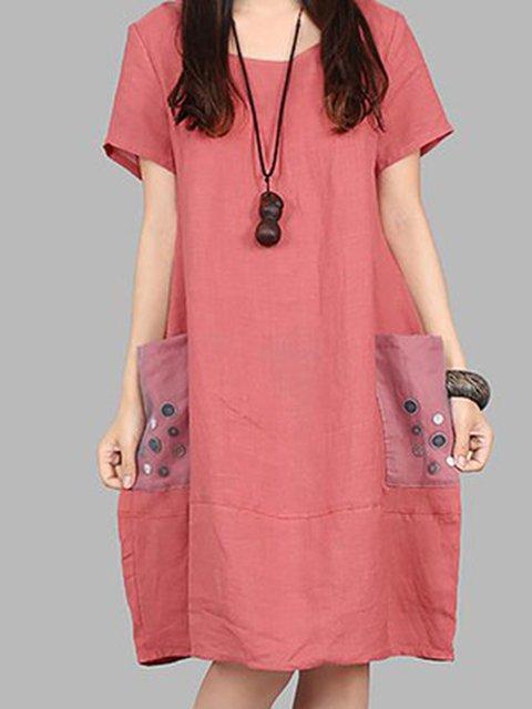 Women Daily Short Sleeve Pockets Plain Casual Dress