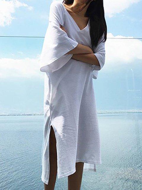 White Shift Women Daily Basic Cotton Slit Casual Dress