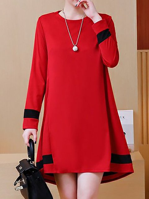 Women Daily Basic Long Sleeve Paneled Solid Casual Dress