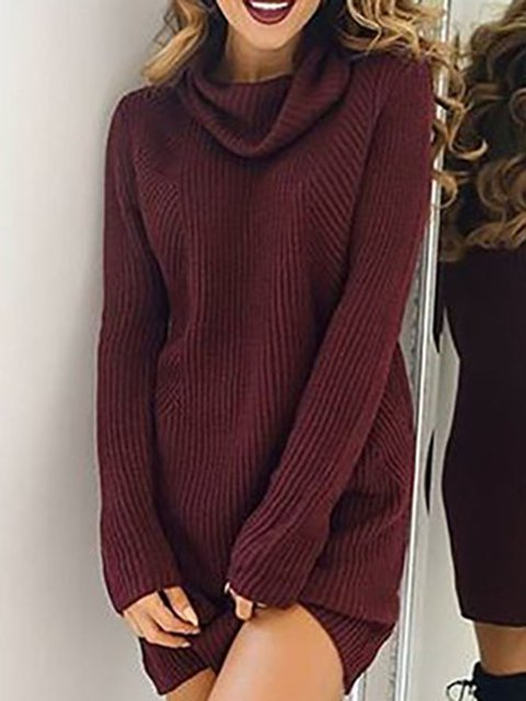 Turtleneck  Women Cotton Casual Long Sleeve Paneled Solid Casual Dress