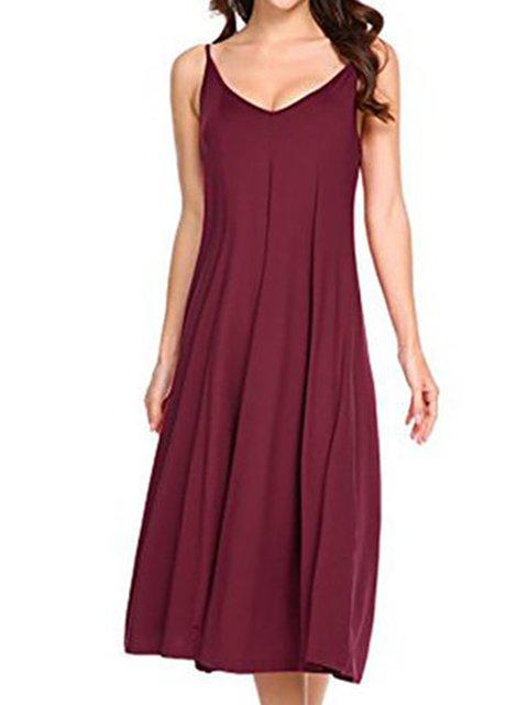 Women Daily Spaghetti Cotton-blend Paneled Solid Summer Dress