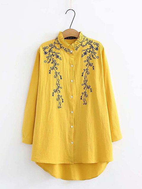 Cotton Floral-Print Long Sleeve Tops