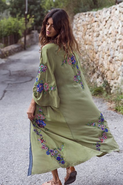 Embroidered Long Sleeve Floral Outerwear