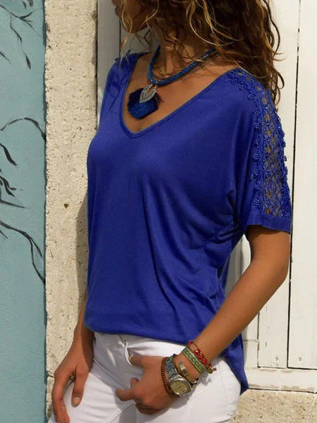 V neck Short Sleeve Basic Cotton Solid T-Shirt