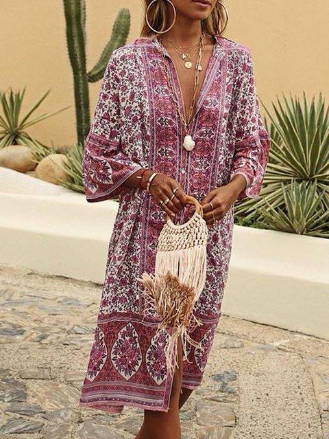 V Neck Women Summer Dresses Shift Floral-Print Floral Dresses