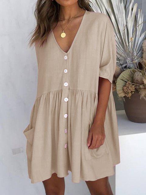 V Neck Women Summer Dresses Daily Cotton Solid Dresses