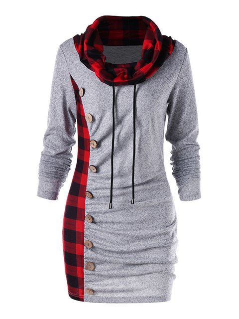 Cowl Neck Women Casual Dresses Sheath Daily Checkered/plaid Dresses