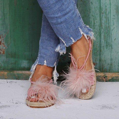 Ostrich Feather Sandals Espadrilles Buckle Sandals