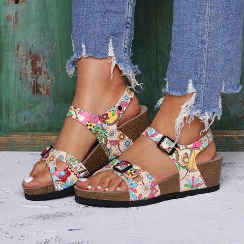 Holiday Beach Sandals Pu Buckle Wedge Heel Sandals