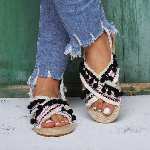 National Style Espadrilles Sandals Flat Heel Buckle Sandals