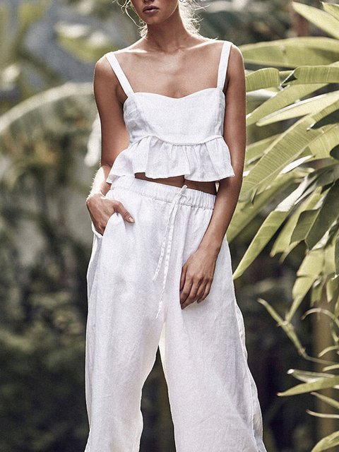 White Sling Solid Casual Suit Set
