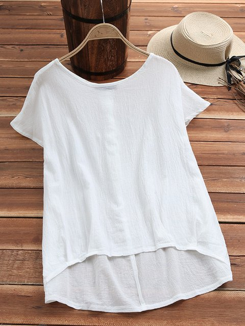 Plus Size Round Neck Simple & Basic Pure Color Summer T-Shirts