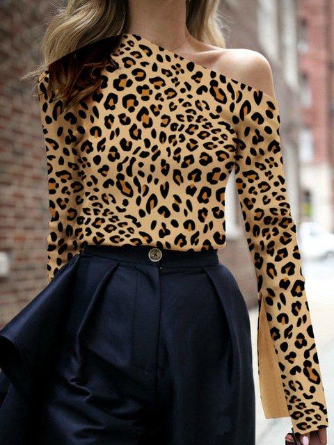 723b062957 Leopard Print Color-Block Vintage One Shoulder 2019 Stylish T-Shirts ...