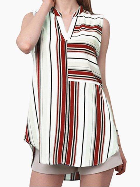 e712176830 Plus Size Stripes Sleeveless Blouses Vests Tops - JustFashionNow.com