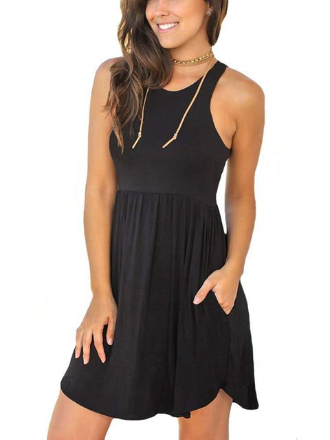 Women's Loose Plain Dresses Casual Short Dress With Pockets