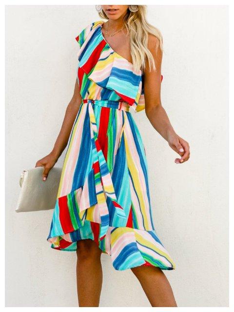 Multicolor One-shoulder Printed Dresses