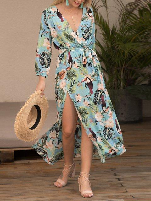 Floral Long Sleeve Printed Dresses