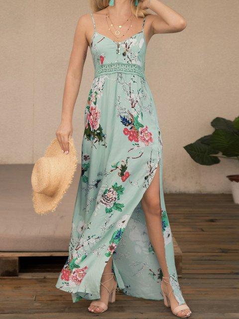 Spaghetti Slit Floral Dresses