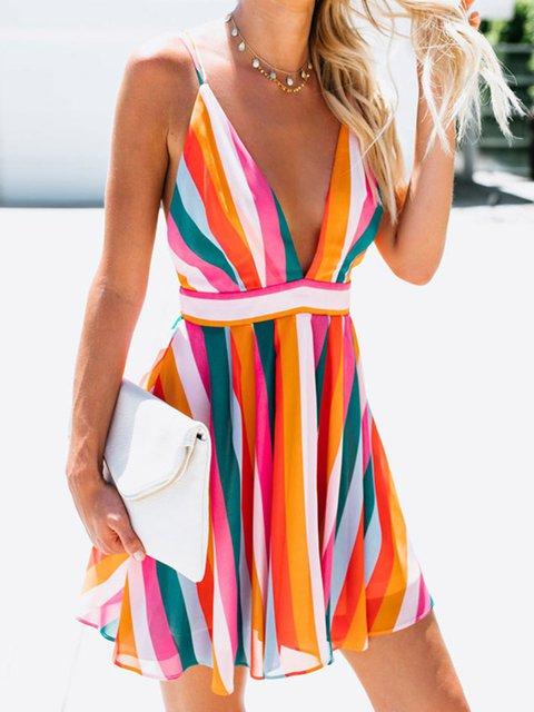 Multicolor Printed Sexy Mini Dresses