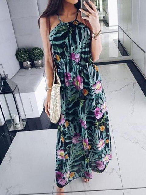 Asymmetrical Halter Floral Dresses