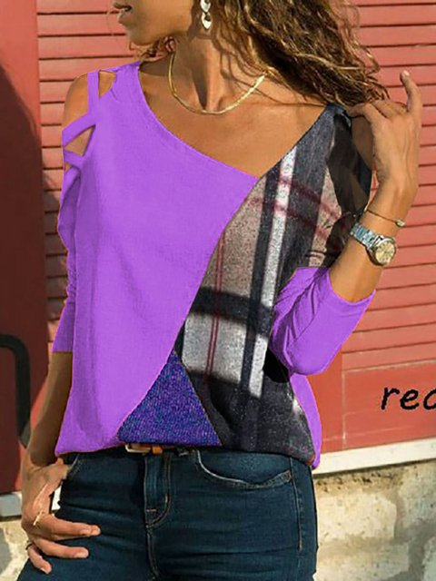 Patchwork Long Sleeve T-Shirts