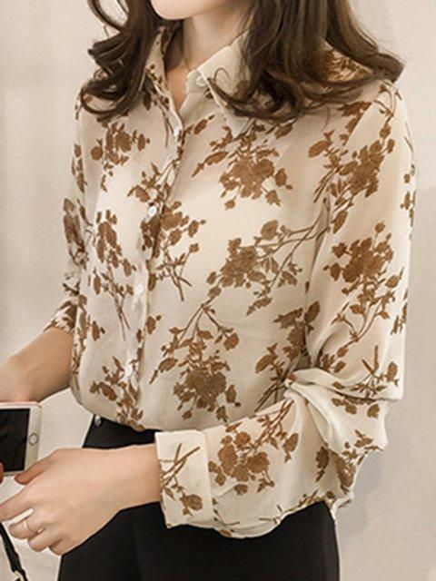 2019 Spring Plus Size Floral Shirt Collar Elegant Shirts