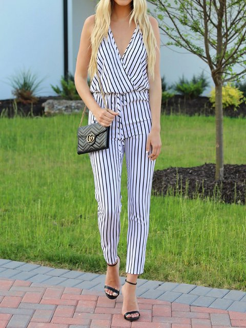 Striped Spaghetti Fashion Jumpsuits
