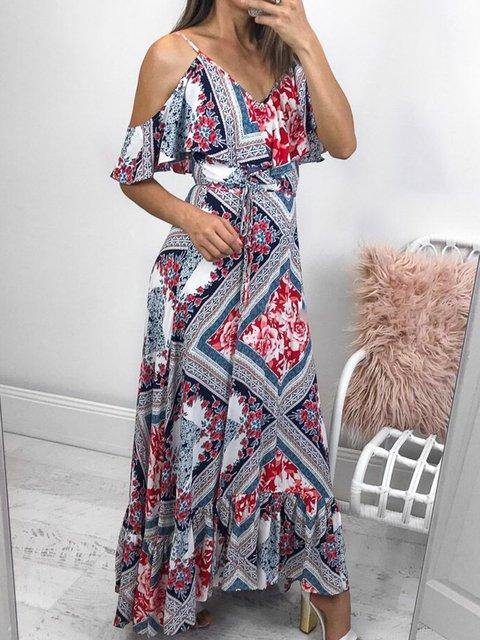 Boho Cold Shoulder Floral Dresses