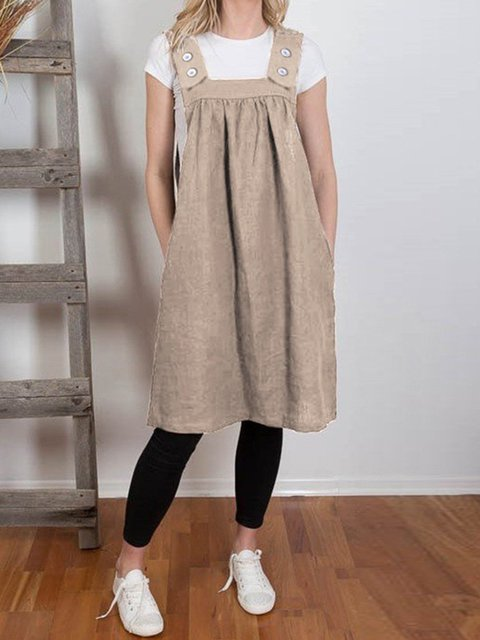 Pleated Pocket Button Strap Dress Casual Knee-length Skirt
