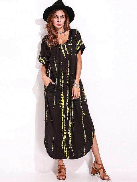 V Neck Black Women Summer Dresses Daily Vintage Dresses