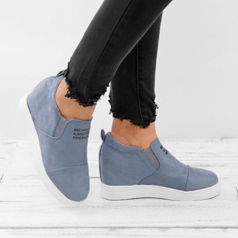 Fashion On Suede Casual Slip Wedge Sneakers Letter Heel Faux