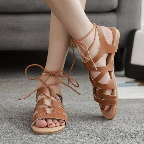 b56115503c81 Date Flat Heel Casual Peep Toe Lace Up Sandals