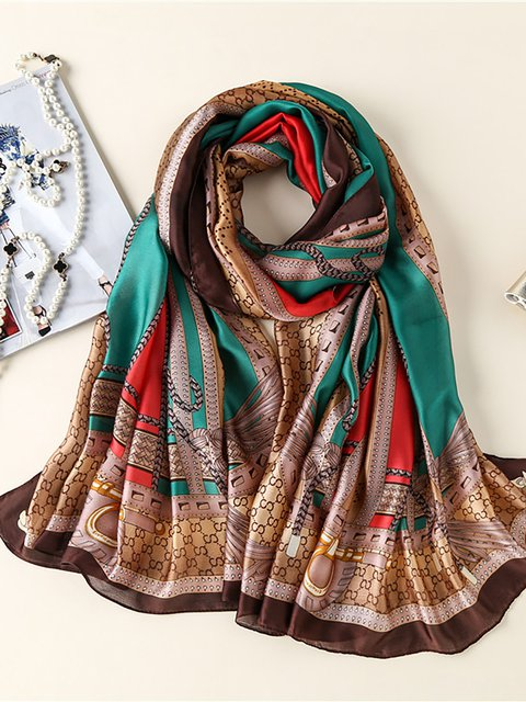 Silk-Blend Geometric Party Fashion Scarves