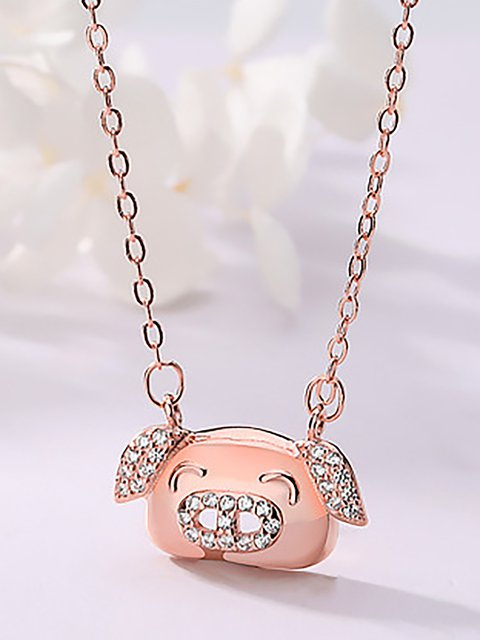 S925 Sterling Silver Pig Year Gift  Pendant Necklace