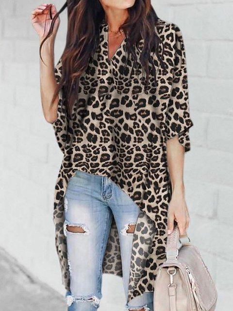 Plus Size Asymmetric Half Sleeve Leopard Print Vintage V Neck Tunic Blouses