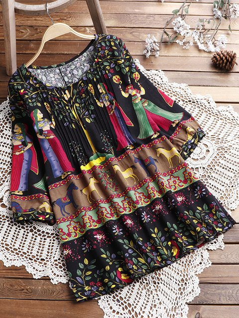 Women's Ethnic Daily Linen Casual Summer Short Dresses