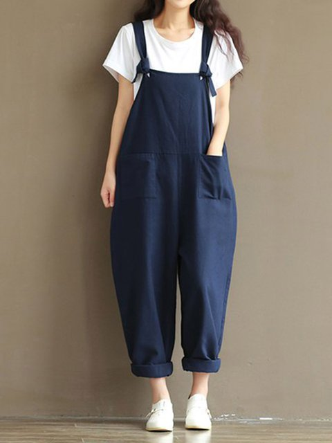 Dark Blue Cotton-blend Simple Solid Cocoon Jumpsuit