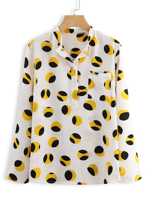Plus Size Casual Polka Dots Printed/dyed Blouses