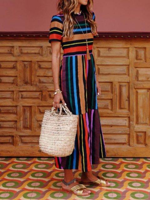 Women Crew Neck Multicolor Paneled Summer Dresses