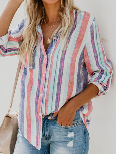 Casual Buttoned Striped Long Sleeve Shirt Collar Shirts