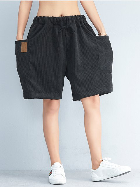 Black Corduroy Simple & Basic Solid Loose Short Pants