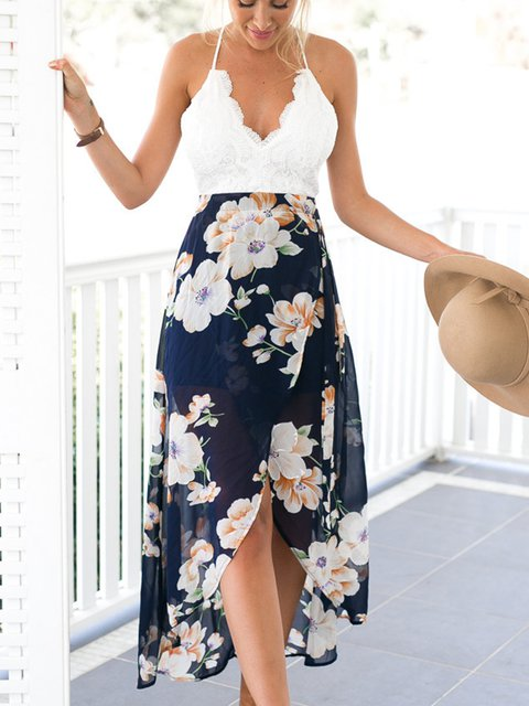 111c7143344a Justfashionnow Sundress Sexy Dresses Beach A-Line Halter Spaghetti Printed  Resort Dresses