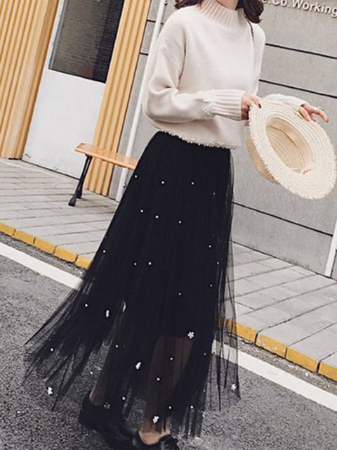Beaded Gathered Swing Mesh Casual Skirt