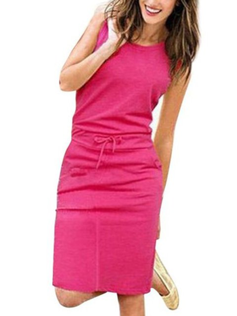 Crew Neck Women Casual Dresses Shift Daily Cotton Solid Dresses