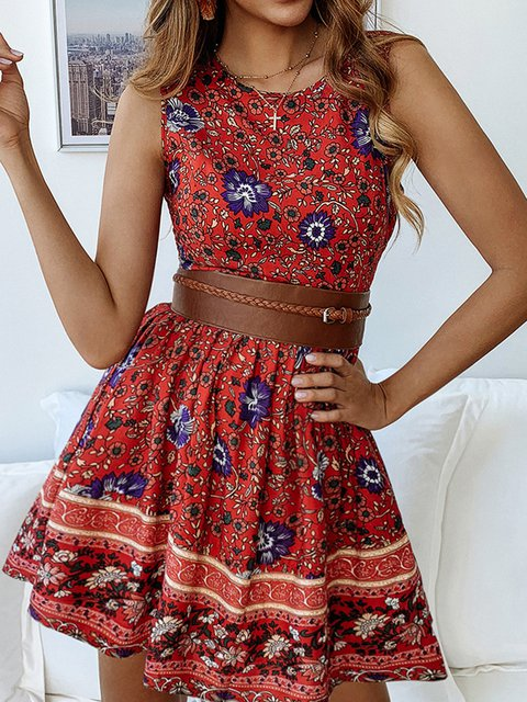 e637db9e700fa3 Justfashionnow Summer Dresses Boho Dresses Daily A-Line Crew Neck Holiday  Floral-Print Sleeveless Dresses