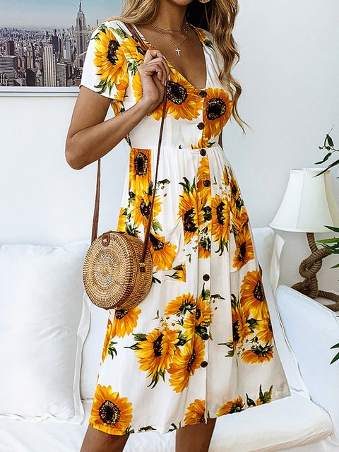V Neck Women Summer Dresses Shift Casual Cotton-Blend Dresses