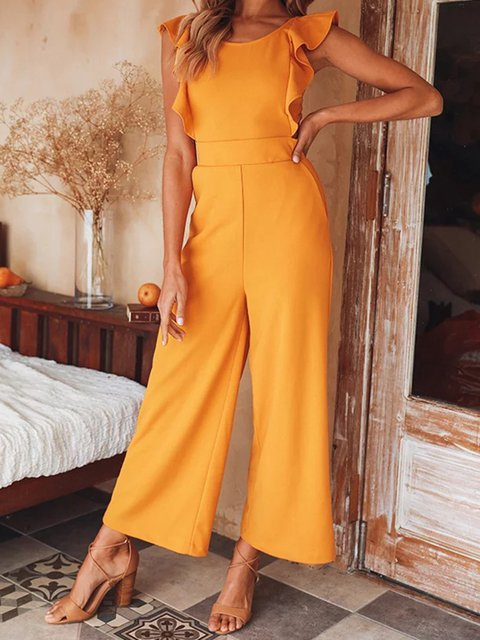 Backless Sleeveless Solid Jumpsuits